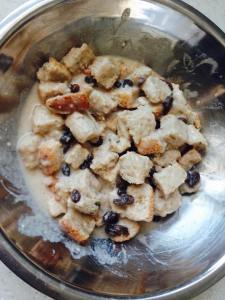 Pour the mixture onto the bread cubes and let stand again until the bread has absorbed most of the liquid.