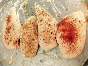 One of my favourite meal-prepping tips: Bake a pan of skinless, boneless chicken breasts with various seasonings to suit your taste (bake at 400F for 20-25 minutes).