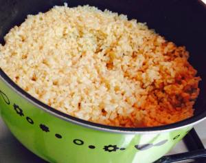 I cook a large pot of brown rice each week for easy weeknight meal preparation.