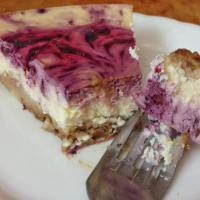 (High-Protein) Healthy Raspberry Swirl Cheesecake (Gluten-free, Low-fat, No added sugar)