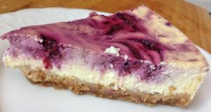 Healthy Raspberry Swirl Cheesecake Slice