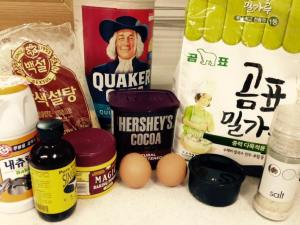 Everything you need to make this cake - note the mix of Korean-soured and Canadian-sourced ingredients!  The life of an expat baker...