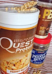 Clockwise from top: chopped peanuts, Quest Nutrition Peanut Butter Protein Powder, Kirkland Signature Natural Creamy Peanut Butter and PB2 Powdered Peanut Butter