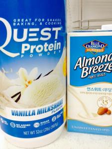 "The ""usual suspects"": protein powder & almond milk."