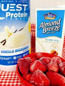 Protein powder + almond millk + frozen strawberries = protein soft serve!