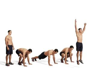 Stand, squat down, jump (or step) back, back to squat, stand (or jump) with arms overhead! Photo source: mensfitness.com