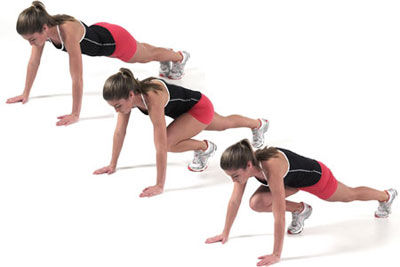 Begin In The Push Up Or Plank Position Then Alternate Jumping Stepping