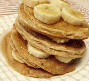 Double Peanut Butter Protein Pancakes with Banana