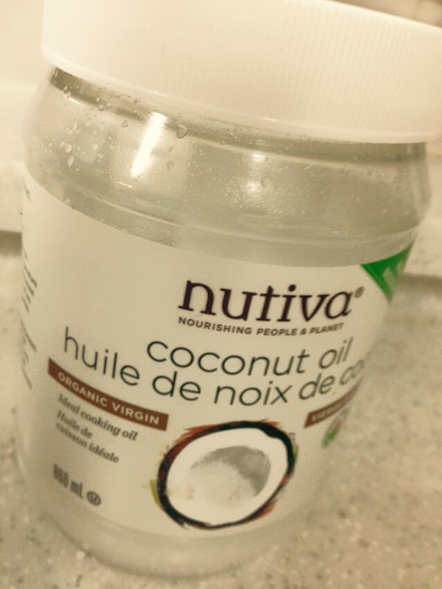 "All the rage these days - organic virgin coconut oil with its medium-chain triglycerides (the ""healthy"" saturated fats).  I used 1-2 tsp of this as a ""helper"" oil to speed the hazelnuts along to nut butter consistency - not necessarily required if you have a good stock of PATIENCE."