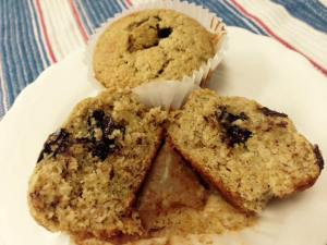 Whole Wheat Banana Walnut Chocolate Chunk Muffins