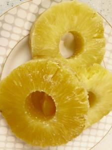 Fresh pineapple rings (you can use canned or just grab a pineapple fruit snack up in a pinch!)